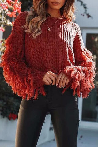 Image of Fashion Loose Plain Fringe Sweater black s