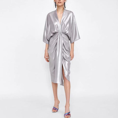 Image of Metal Department Wasit Maxi Dress silver m