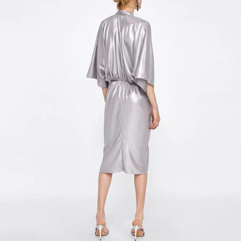 Image of Metal Department Wasit Maxi Dress silver l