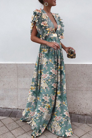 Sexy Deep V Collar Floral Printed Maxi Dress green s