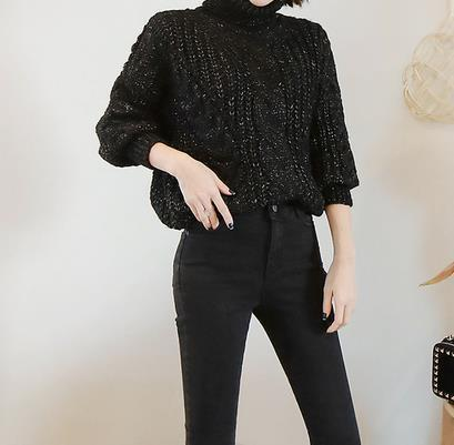 Casual Loose High   Necked Pure Color Knitted Sweater Blouse