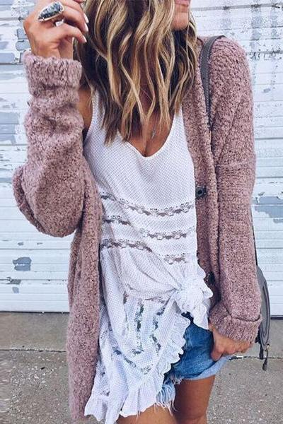 Loose Long Sleeve Button Plain Casual Cardigan nude_pink s