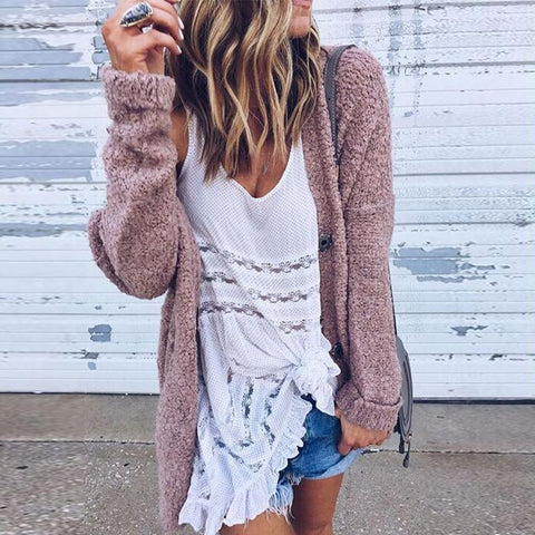 Image of Loose Long Sleeve Button Plain Casual Cardigan nude_pink m