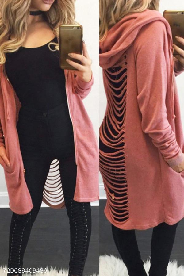 Hooded   Blend  Casual Plain Cardigans pink s