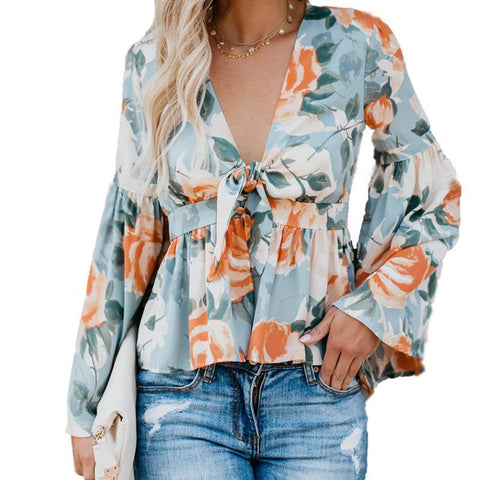 Image of Fashion Deep V Collar Floral Printed Shirt red l
