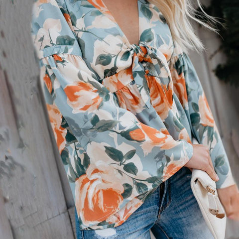 Image of Fashion Deep V Collar Floral Printed Shirt blue l