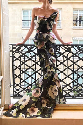 Sexy Floral Off Shoulder Bowknot Tube Evening Dress same_as_photo m