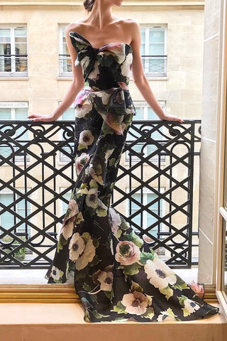 Sexy Floral Off Shoulder Bowknot Tube Evening Dress same_as_photo s