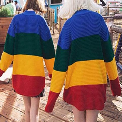 Image of Rainbow Retro Street Loose Striped Gradient Knitting Sweater