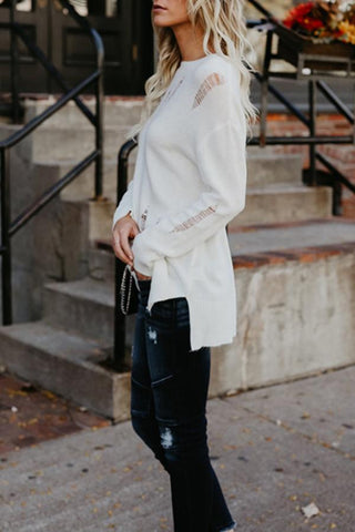 Image of Crew Neck  Asymmetric Hem  Plain Sweaters white m