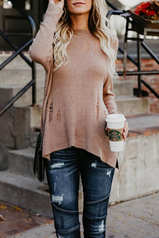 Image of Crew Neck  Asymmetric Hem  Plain Sweaters