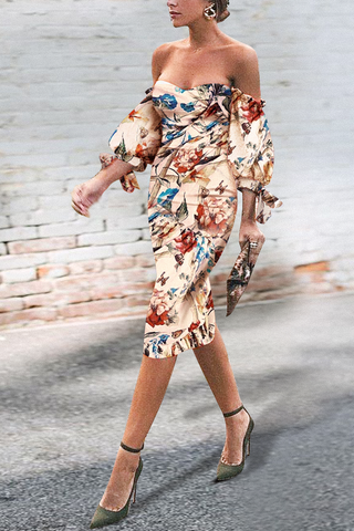 Sexy Off Shoulder Floral Printed Puff Sleeve Bodycon Dress same_as_photo m