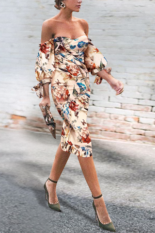 Sexy Off Shoulder Floral Printed Puff Sleeve Bodycon Dress same_as_photo l