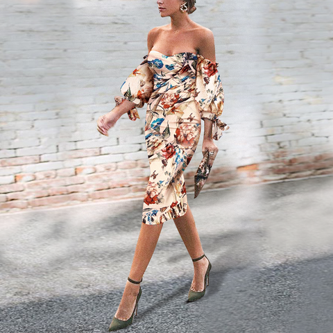 Sexy Off Shoulder Floral Printed Puff Sleeve Bodycon Dress same_as_photo 2xl