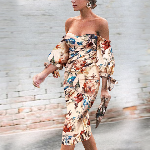 Sexy Off Shoulder Floral Printed Puff Sleeve Bodycon Dress same_as_photo 3xl