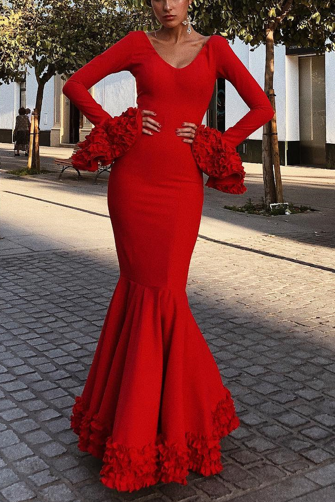 Sexy Plain Deep V Collar Ruffled Long Sleeve Hem Evening Dress red s