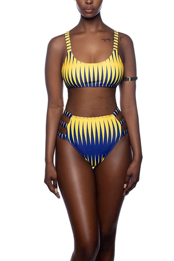 Sexy High Waist Bikini Sawtooth Strip Print Split Swimsuit Same As Photo s