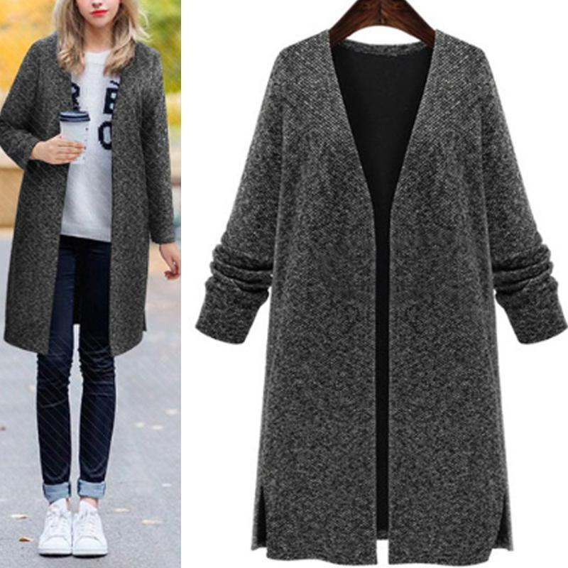 V-Neck Long Loose Cardigan