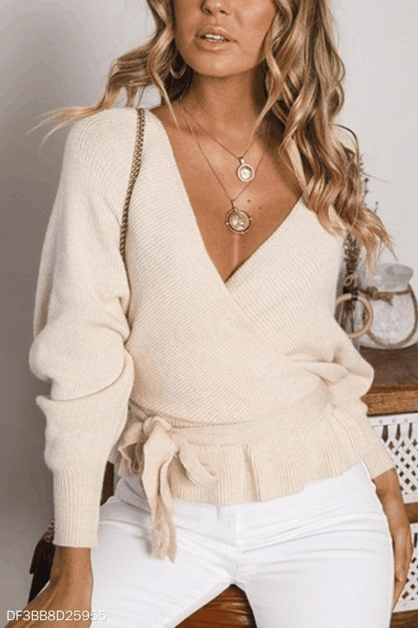 Deep V Neck  Backless  Belt  Plain Sweaters apricot s