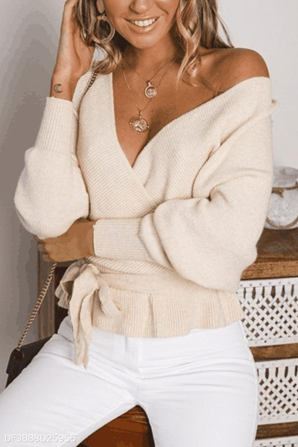Deep V Neck  Backless  Belt  Plain Sweaters apricot m