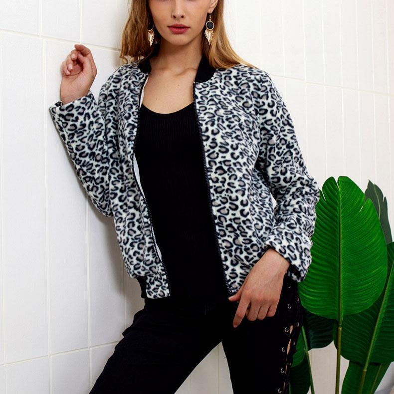 Fashion Zipper Leopard Outwear same_as_photo xl
