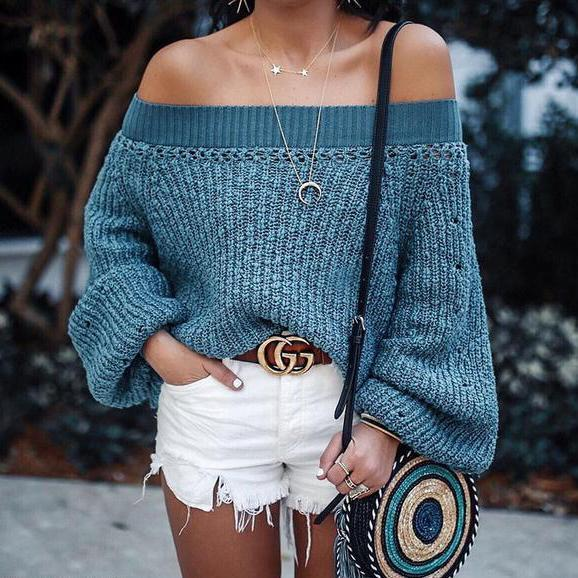 Sweater Lantern Long Sleeve Sweaters blue m