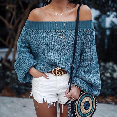 Image of Sweater Lantern Long Sleeve Sweaters blue m