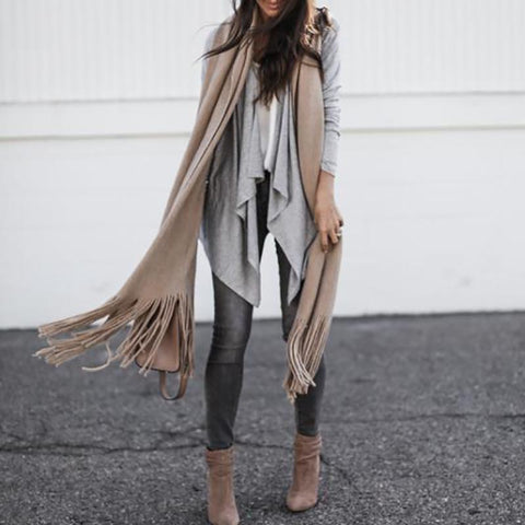 Image of Irregular Long Sleeve Lapel Cardigan same_as_photo m