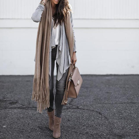 Image of Irregular Long Sleeve Lapel Cardigan same_as_photo l