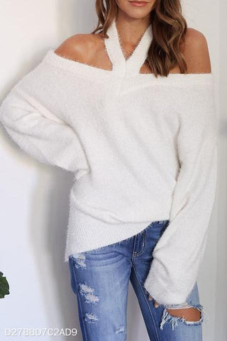 Image of Fashion Casual Loose Plain Off Shoulder Long Sleeve Sweater white l