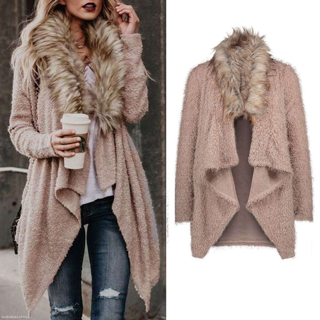 Large Fluffy Collar Cardigan