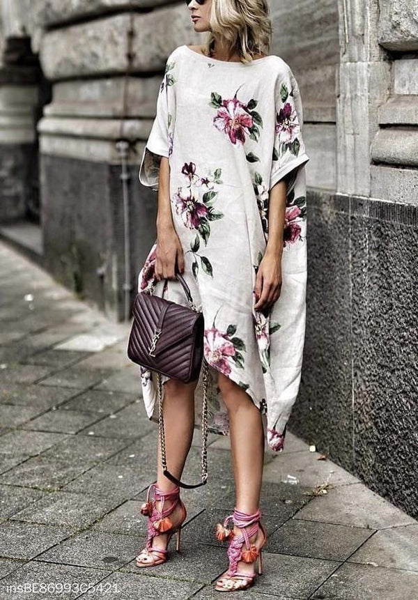 Round Collar Loose Casual Print Dress same_as_photo m