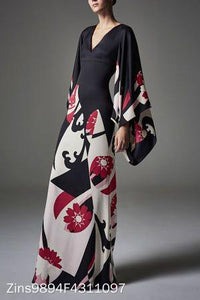Elegant Fashion Slim Floral V Collar Flare Long Sleeve High Waist Maxi Evening Dress same_as_photo s