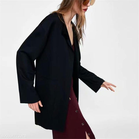 Image of Fashion Business Loose Plain Long Sleeve V Collar Cardigan black l