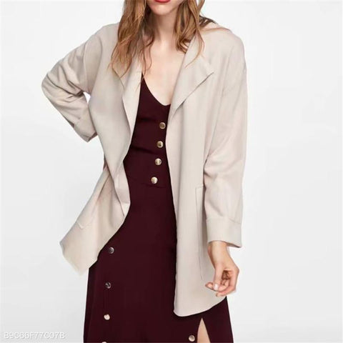 Image of Fashion Business Loose Plain Long Sleeve V Collar Cardigan