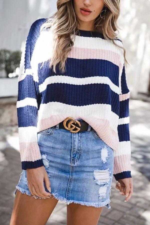 Round Neck  Striped  Casual  Sweaters pink s