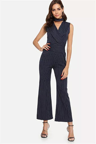 Image of Striped V-Collar Neck Sleeveless Trousers black s
