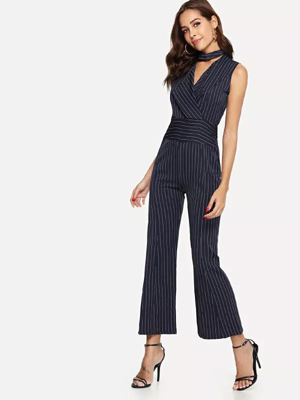 Striped V-Collar Neck Sleeveless Trousers black xl
