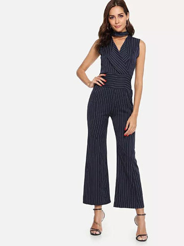 Image of Striped V-Collar Neck Sleeveless Trousers black m