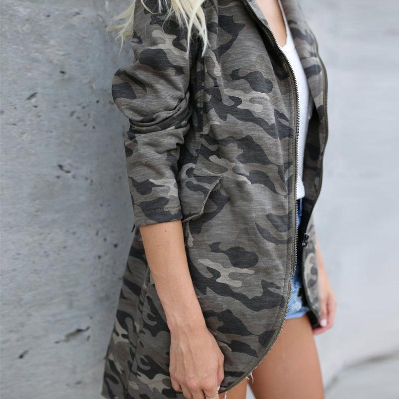 Lapel Zipper Camouflage Printed Pocket Trench Coat same_as_photo xl