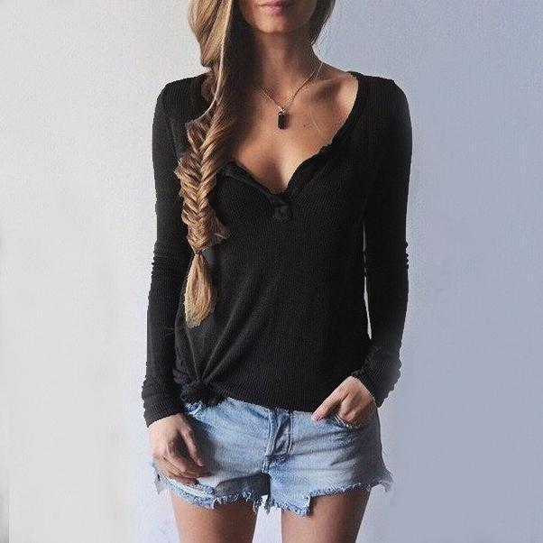 Women V-Neck Long Sleeve Casual Sweater Black m