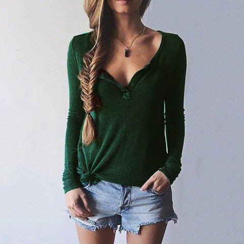 Image of Women V-Neck Long Sleeve Casual Sweater Black l