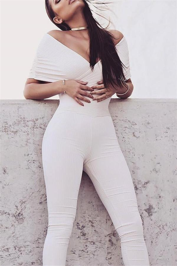 Sexy V-Neck Tight Solid Color Jumpsuit white s