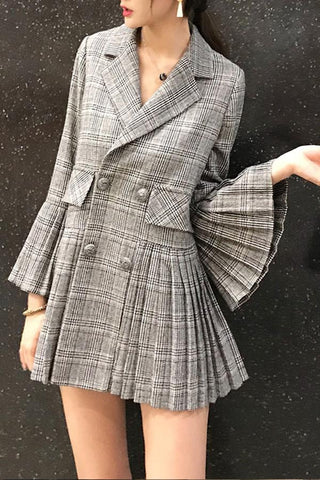 Image of Fashion Elegant Bell Sleeve Check Pleated Suit Jacket Same As Photo s