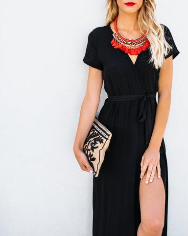 Sexy V-Collar Pure Color Band Open Slit Maxi Dress black m