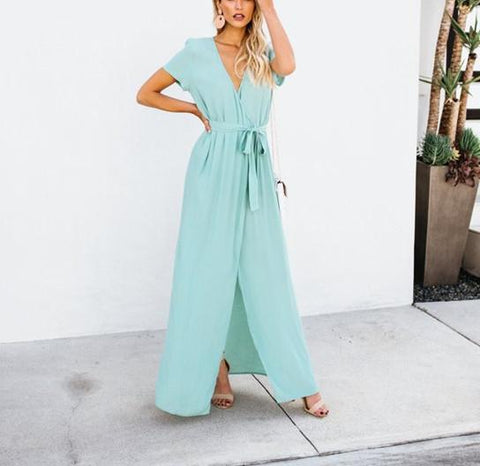 Sexy V-Collar Pure Color Band Open Slit Maxi Dress sky_blue l