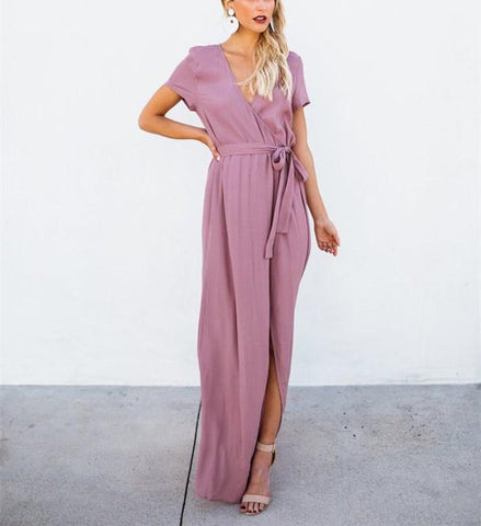 Sexy V-Collar Pure Color Band Open Slit Maxi Dress purple l