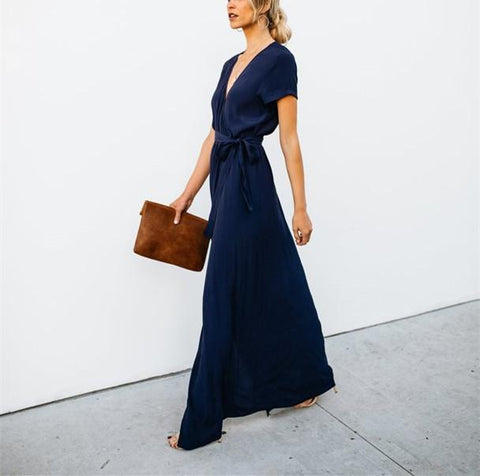 Sexy V-Collar Pure Color Band Open Slit Maxi Dress dark_blues l