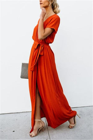 Sexy V-Collar Pure Color Band Open Slit Maxi Dress red s