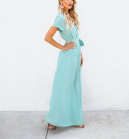 Sexy V-Collar Pure Color Band Open Slit Maxi Dress sky_blue m